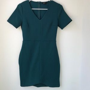 Forever 21 Short Sleeve Fitted Emerald Dress Sz S